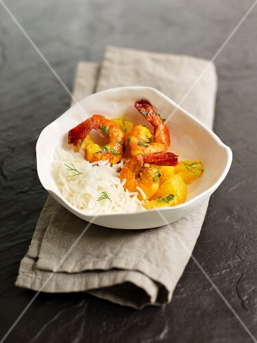 Shrimp and pineapple Colombo with basmati rice