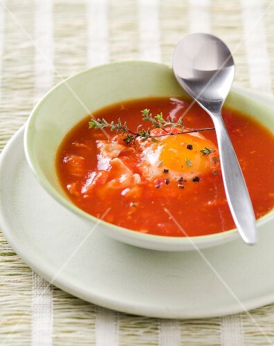 Tomato soup with an egg
