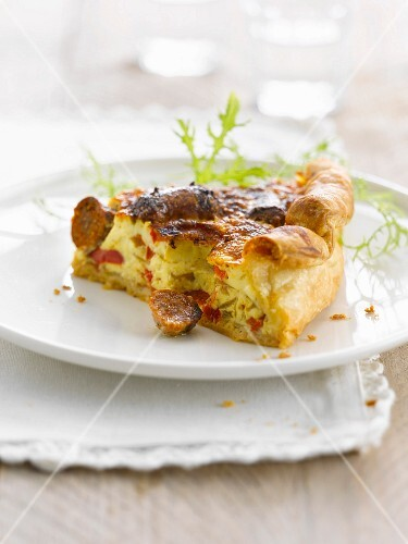 Merguez-bell pepper quiche