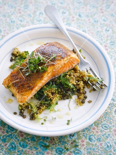 Grilled salmon with quinoa and lentils