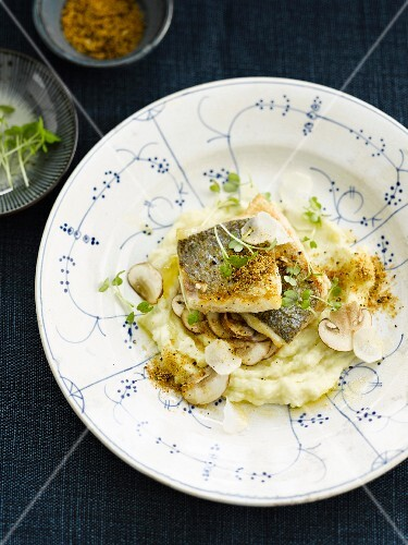 Bream fillet,mashed potatoes and mushrooms