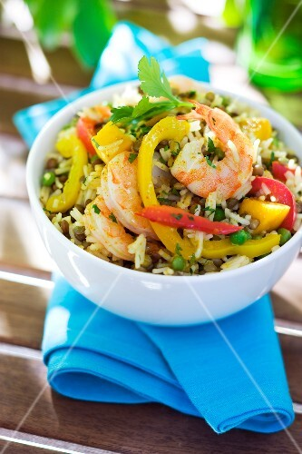 Indian-style rice and shrimp salad