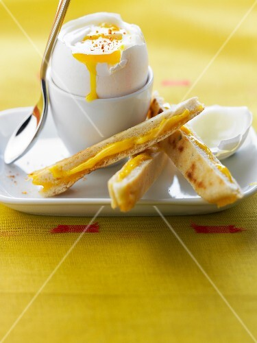 Soft-boiled egg with cheddar bread fingers