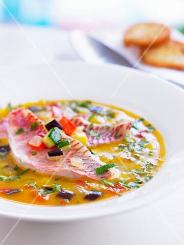 Minestrone with red mullet fillets