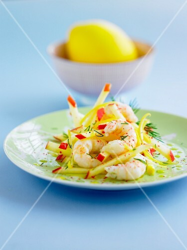 Dublin Bay prawn,apple and lemon salad