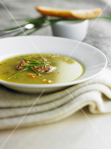 Vegetable soup with foie gras
