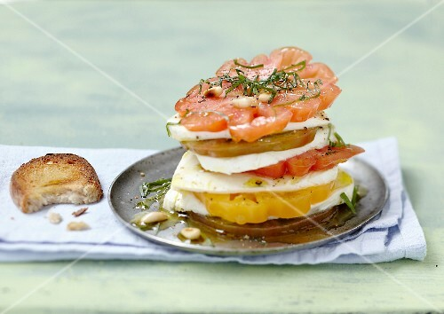 Traditional tomato-mozzarella Mille-feuille