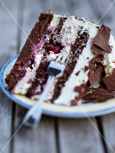 A slice of Black Forest gateau