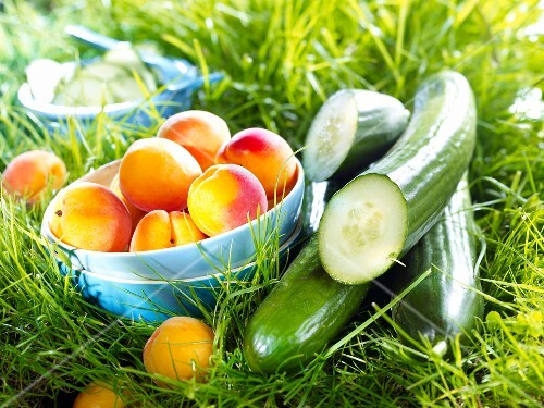 Apricots and cucumbers in the grass