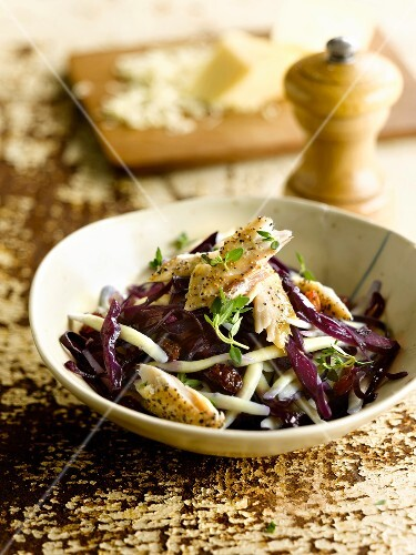 Pasta,red cabbage and mackerel salad