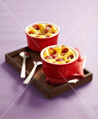 Individual cherry batter pudding