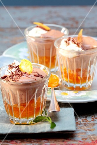 Light chocolate mousse with confit citrus fruit