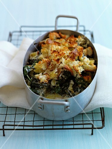 Swiss chard and bread gratin