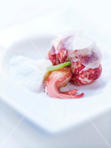 Roasted lobster,pickled turnips and white tea cappuccino