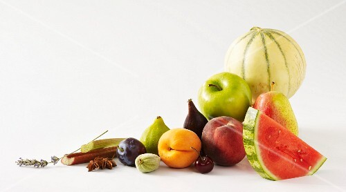 Fruit composition on a white background