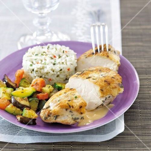Roasted chicken breast with thyme,ratatouille and white rice with herbs