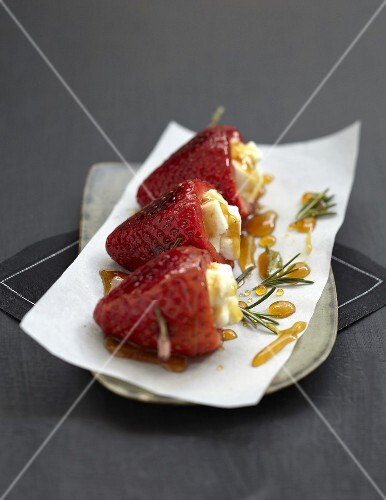 Strawberries in Pouligny-Saint-Pierre,caramel and rosemary brochettes