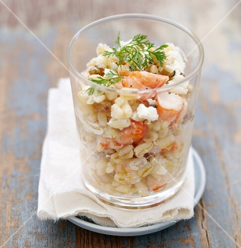Wheat salad with prawns, nuts, cream cheese and surimi