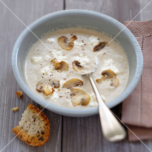 Cream of mushroom soup with Fromage frais