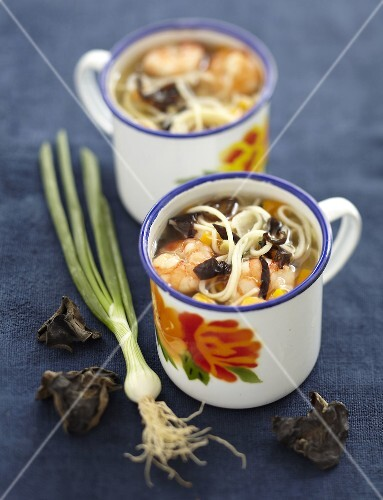 Shrimp,noodle and black mushroom soup from China