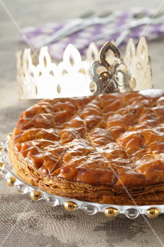 Galette des rois and golden paper crown