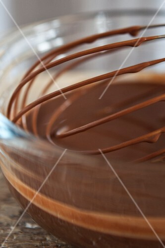 Bowl and whisk of melted chocolate