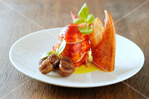Roqted lobster from Brittany with melted butter and roasted chestnuts