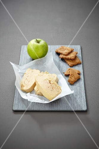 Ingredients for foie gras,confit apple and speculos ginger biscuit spoons
