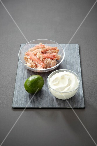 Ingredients for a crab and lime soufflé
