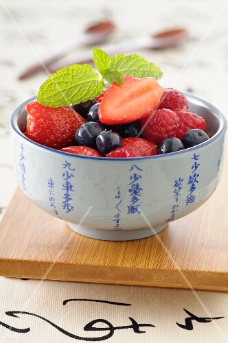 Summer fruit salad with ginger syrup