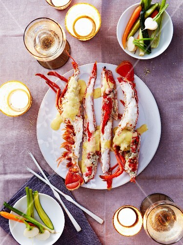 Lobster with Champagne and vanilla sauce,crisp vegetables