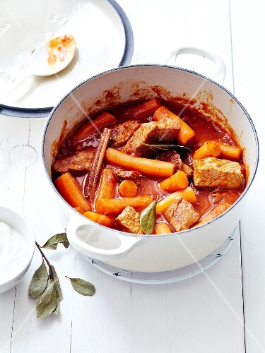 Beef simmered with carrots,cinnamon and tomato sauce