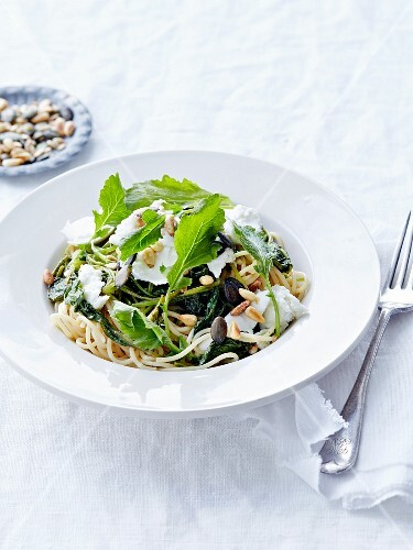 Spaghettis with spinach, mozzarella di bufala,pine nuts and squash seeds