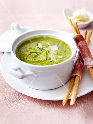 Creamed zucchini soup with rosemary and parmesan flakes,breadsticks wrapped in raw ham