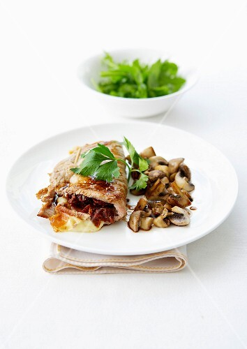 Veal Saltimbocca with pan-fried mushrooms