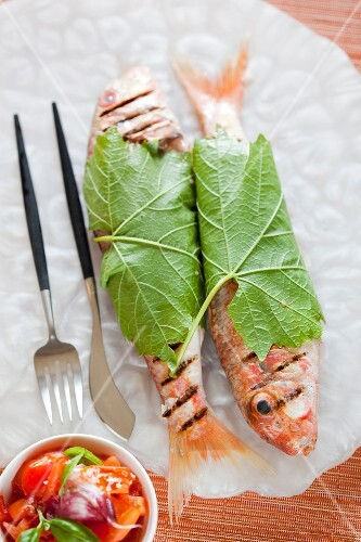 Grilled red mullets wrapped in vine leaves ,tomato salad
