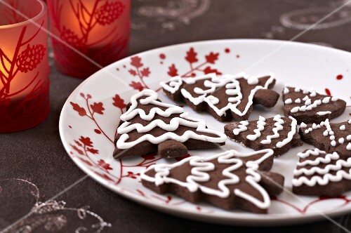 Chocolate Christmas tree cookies