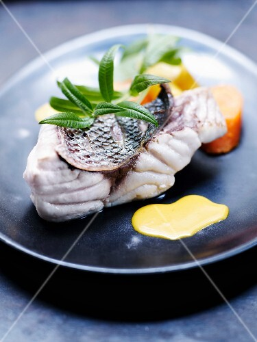 Royal sea bream with carrots and creamy verbana sauce