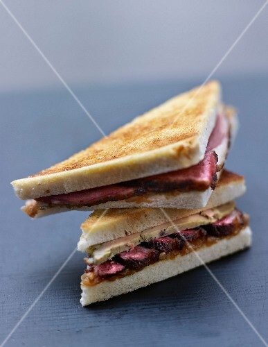 Foie gras and duck magret toasted sandwich