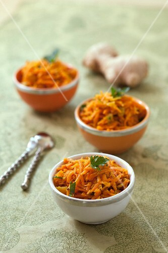 Spicy cooked grated carrots with mustard