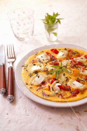 Tomato,pepper,goat's cheese and verbana omelette