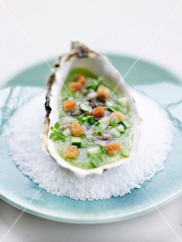 Oyster on cucumber sauce with basil and croutons