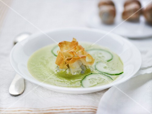 Cold cucumber soup and crusty filo pastries filled with mushroom