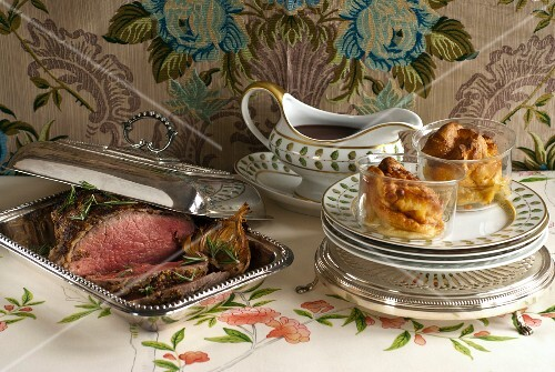 Roast beef with gravy and Yorkshire puddings