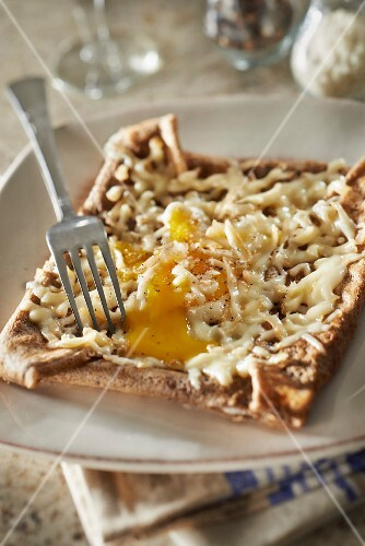 Petit Breton cheese,ham and egg buckwheat galette
