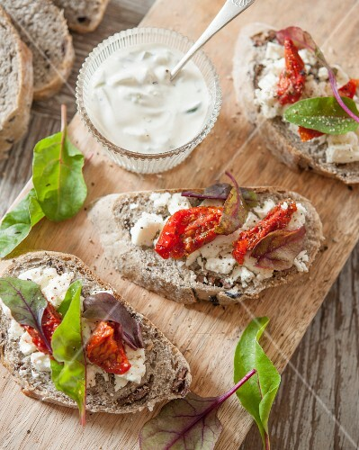 Feta,confit tomatoes and baby shoot open sandwich