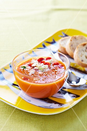 Vegetable gazpacho with mozzarella