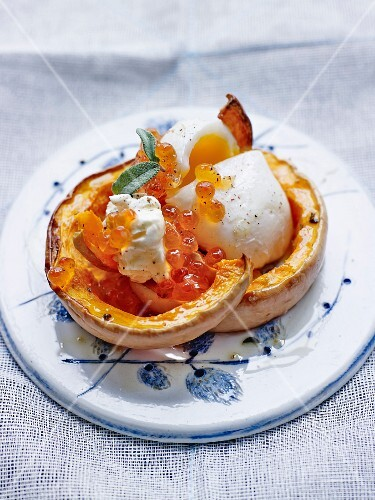 Warm butternut, soft-boiled egg and salmon roe salad