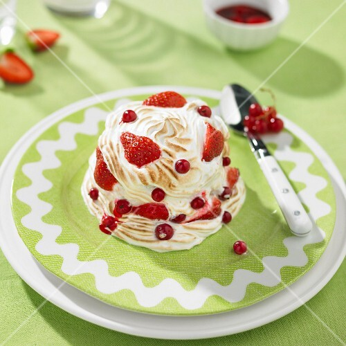 Strawberry and redcurrant baked Alaska dome