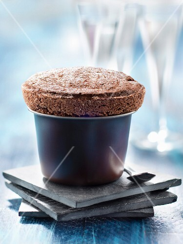 Dark chocolate and coconut soufflé
